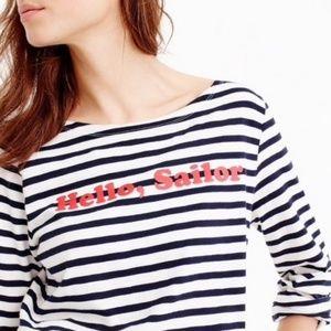 "J. Crew ""Hello Sailor"" Striped 3/4 Sleeve Tee- XXS"